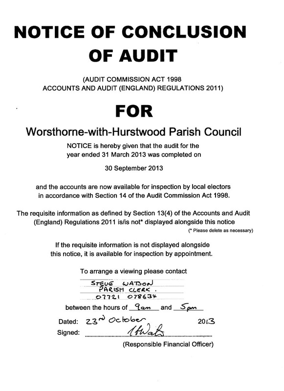 Audit Reports  Worsthorne With Hurstwood Parish Council